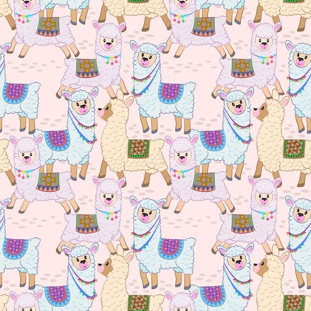 Cute alpaca seamless pattern vector design. Premium Vector