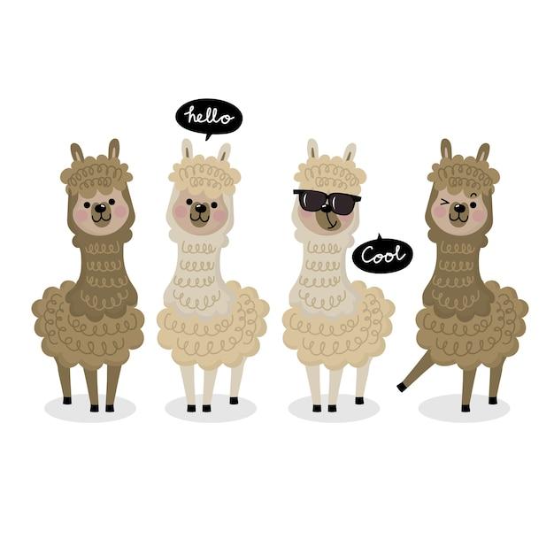 Cute alpaca vector. Premium Vector