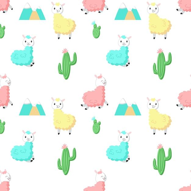 Cute alpaca with cactus Premium Vector