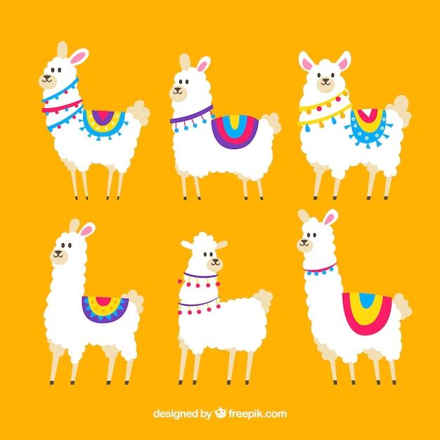 Collezione alpaca carino Vettore gratuito