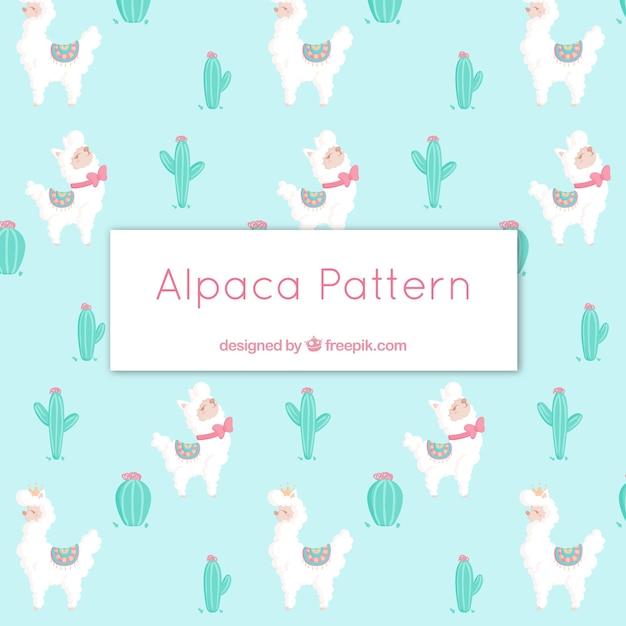 Modello carino alpaca con la natura Vettore gratuito