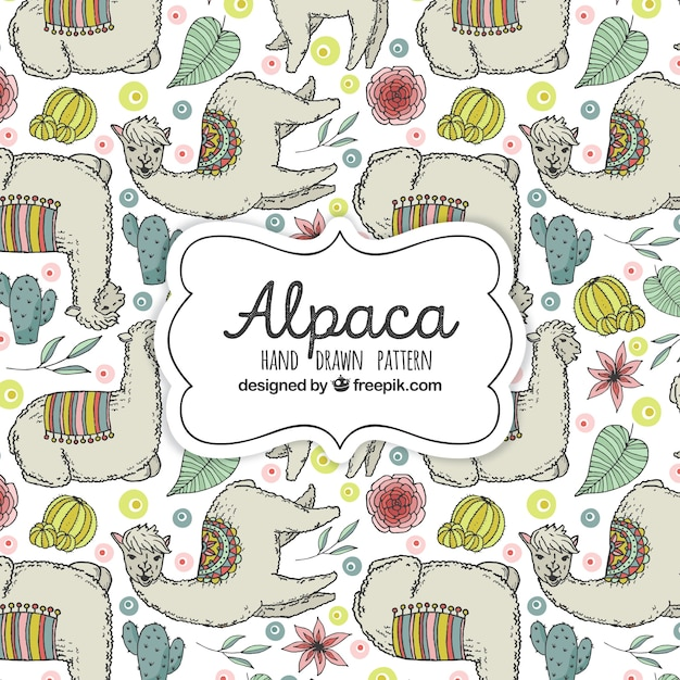 Cute alpacas pattern with plants Free Vector