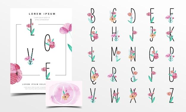 Alfabeto carino decorato con fiori in stile acquerello Vettore gratuito