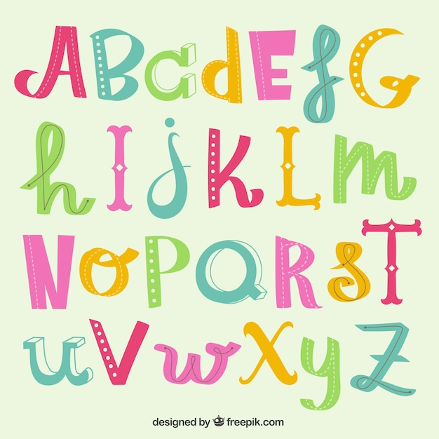 Cute Alphabet Letters Free Vector