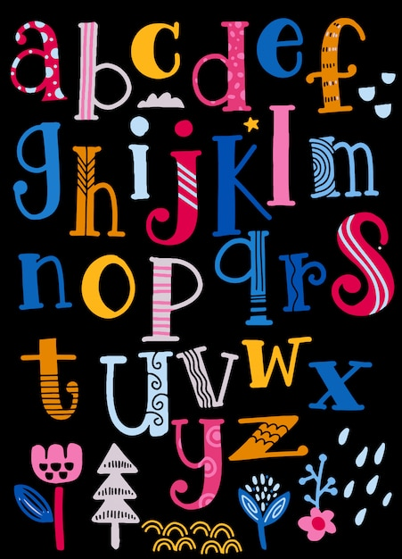 Cute  alphabet with swirls  isolated on background for text Premium Vector