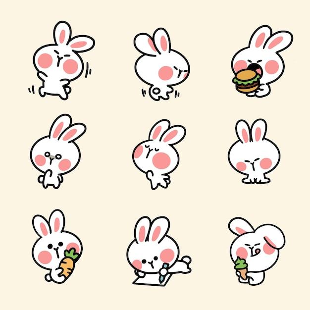 Симпатичный и очаровательный кролик, третий набор Premium векторы