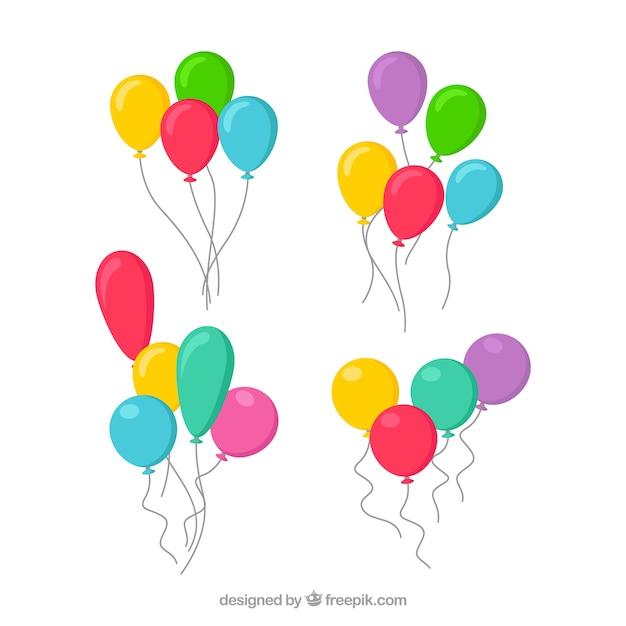 Симпатичные и красочные декоративные воздушные шары Premium векторы