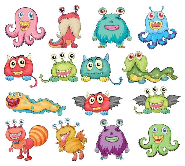Cute and colorful monsters Free Vector