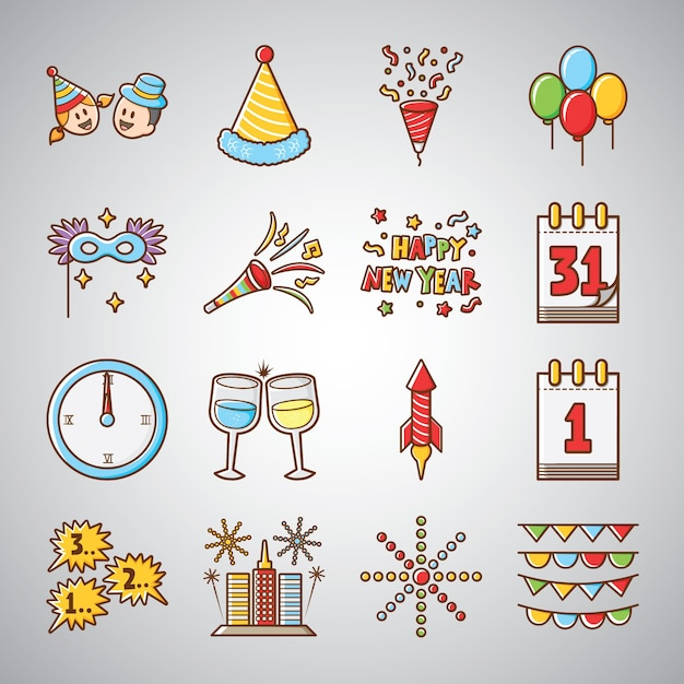 Cute and Funny Happy New Year Icon Vector | Premium Download