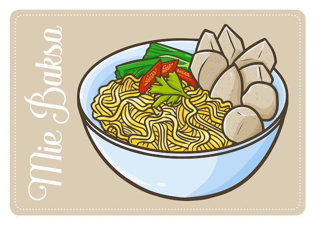 Симпатичная и веселая индонезийская кухня «мие баксо» или тефтели. традиционная еда с явы. ешьте с лапшой. сделано из муки и множества специй. Premium векторы