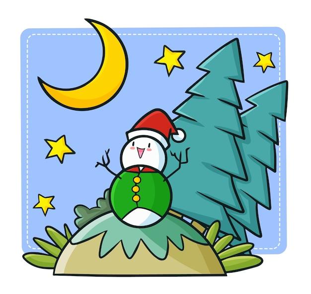 クリスマスにサンタの帽子をかぶって、幸せなクリスマスの夜を過ごしているキュートで面白いかわいい雪だるま Premiumベクター