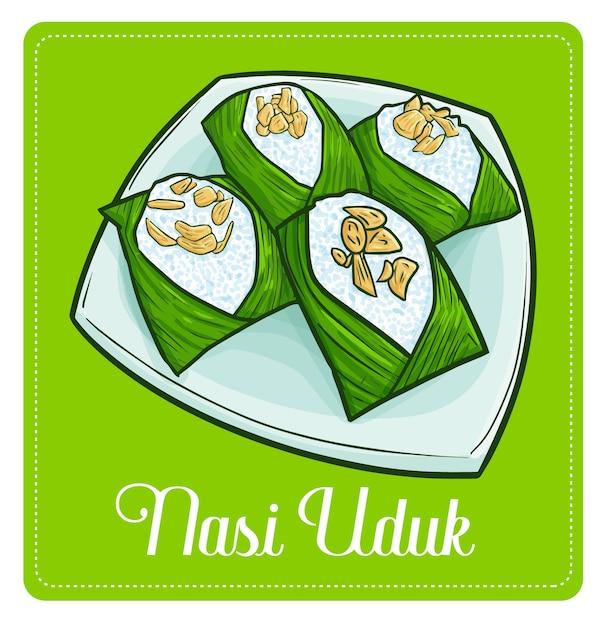 Симпатичный и забавный «наси удук», традиционное блюдо из риса из джакарты, индонезия. Premium векторы