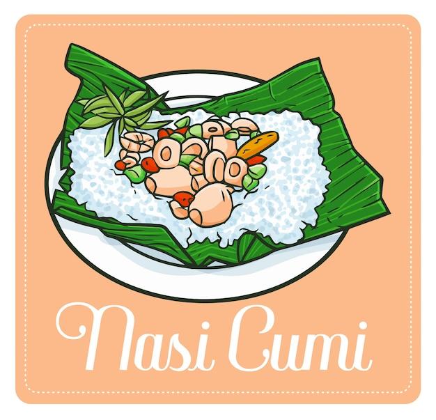 Симпатичная и забавная вкуснятина «наси куми», традиционное блюдо из кальмаров из индонезии. Premium векторы