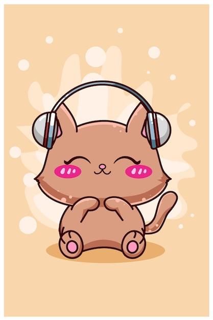 Милый и счастливый кот с наушниками мультфильм Premium векторы