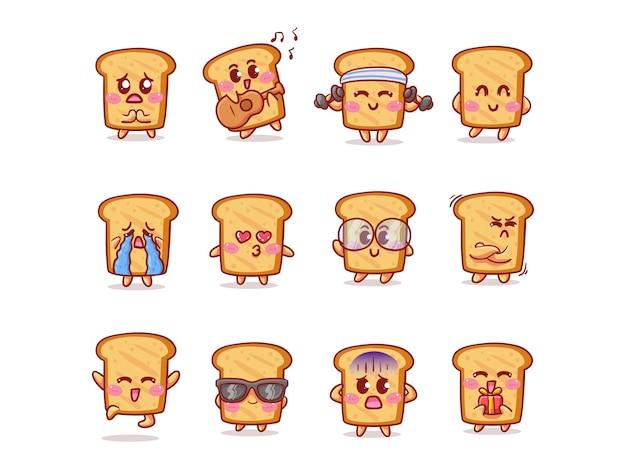 Симпатичный и кавайный набор наклеек на хлеб с различной активностью и выражением для талисмана Premium векторы