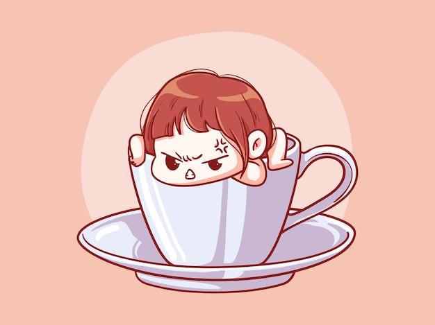 Милая и кавайная девушка сердится, вылезая из чашки кофе манга чиби иллюстрация Premium векторы