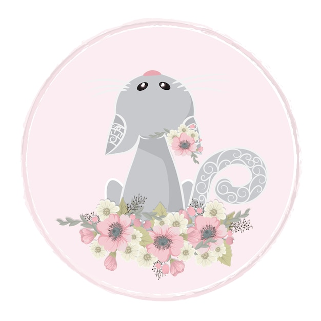 Cute and Sweet cat collects flowers Free Vector