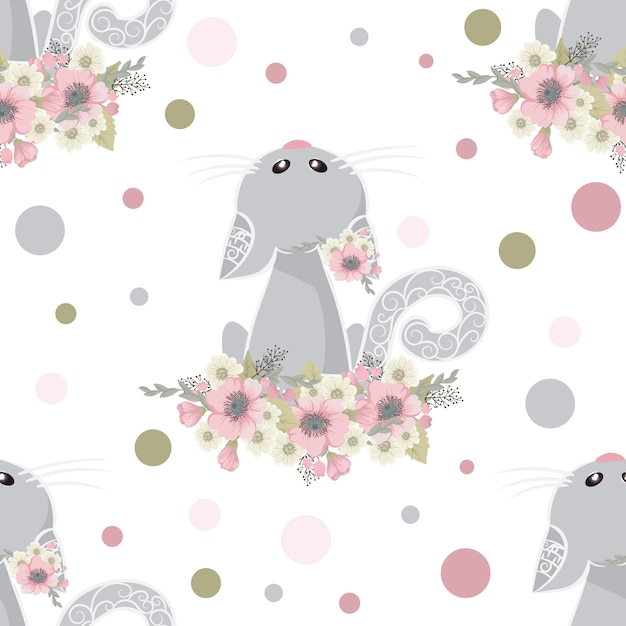 Cute and Sweet cat with flowers Free Vector