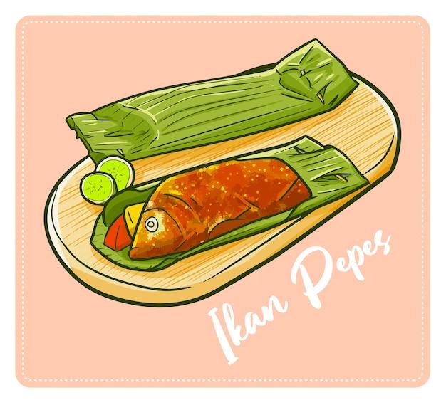 可愛くておいしいインドネシアの伝統料理「イカンペペ」。魚と多くのスパイスから作られ、やさしく焼き上げます。 Premiumベクター