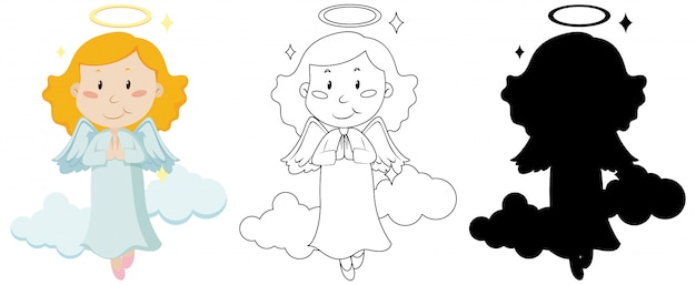 Cute angel in color and in outline and silhouette Free Vector