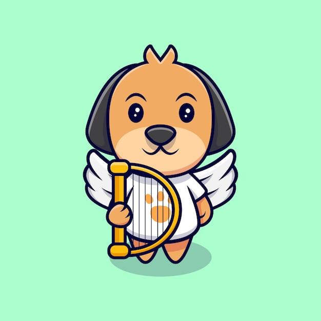 かわいい天使の犬の漫画アイコンイラスト。フラット漫画スタイル Premiumベクター