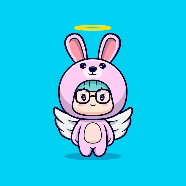 バニーコスチュームを着たかわいい天使の女の子 Premiumベクター