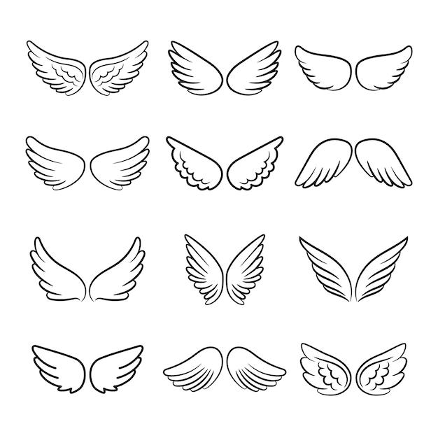 Cute angel wings set Premium Vector