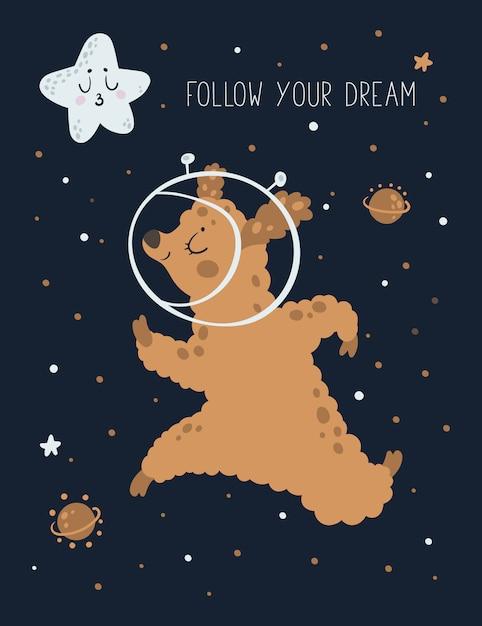 Cute animal alpaca, sheep, lama in space with stars Premium Vector