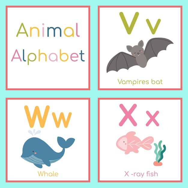 Cute animal alphabet. v, w, x letter. vampire bat, whale, x-ray fish. Premium Vector
