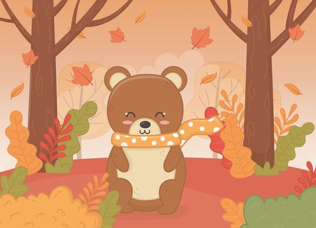 Cute animal in autumn season Premium Vector