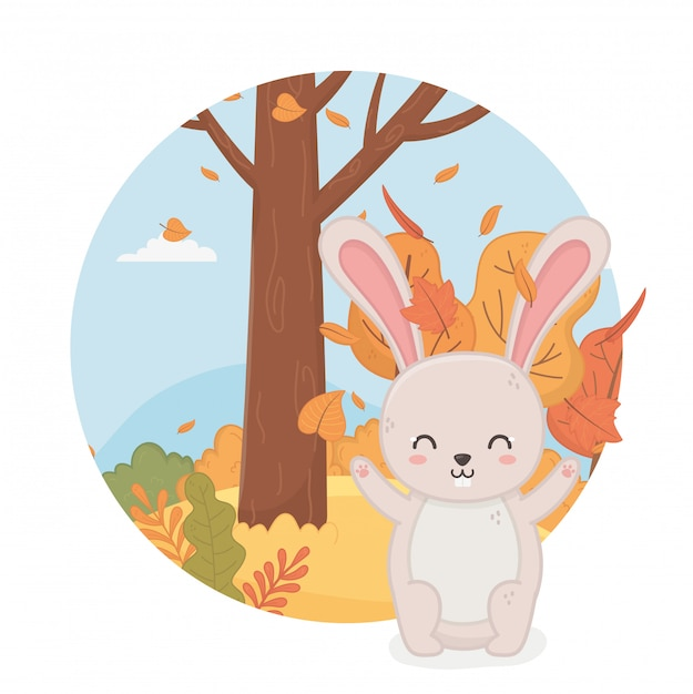 Cute animal in autumn season Premium Vector