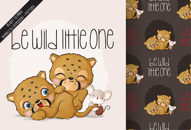 Cute animal baby cheetah happy playing with mouse seamless pattern Premium Vector