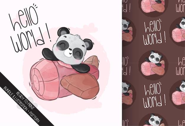 Cute animal baby panda on the airplane seamless pattern Premium Vector