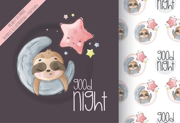 Cute animal baby sloth sleep on the moon seamless pattern Premium Vector