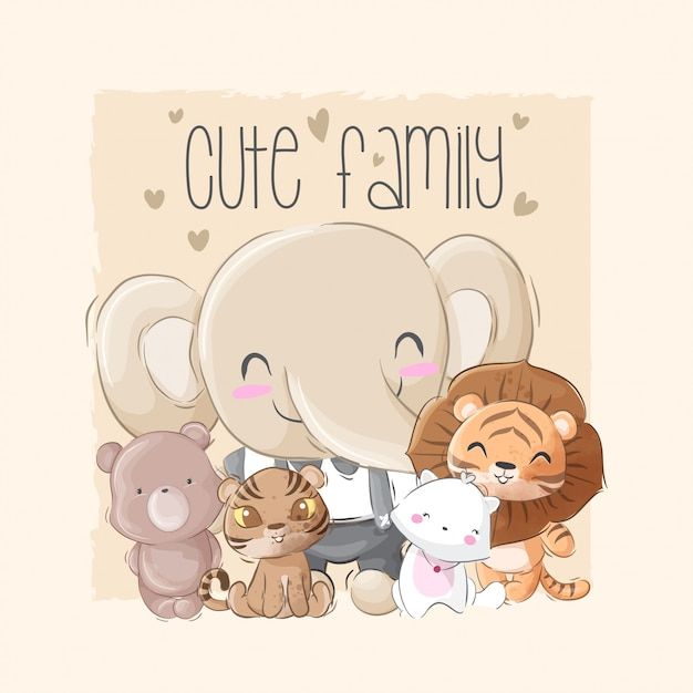 Cute animal big family Premium Vector