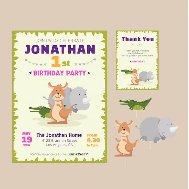 Cute animal birthday theme invitation card Free Vector