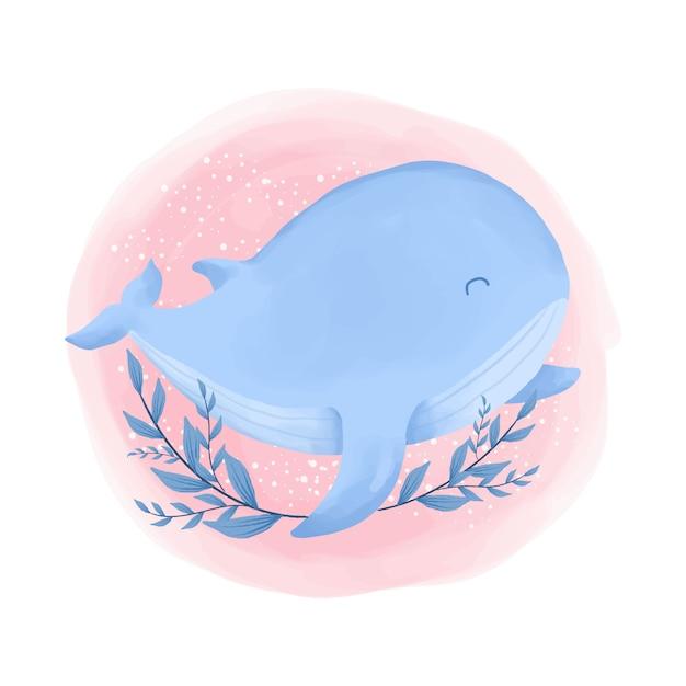 Симпатичные животные синий кит акварельные иллюстрации Premium векторы