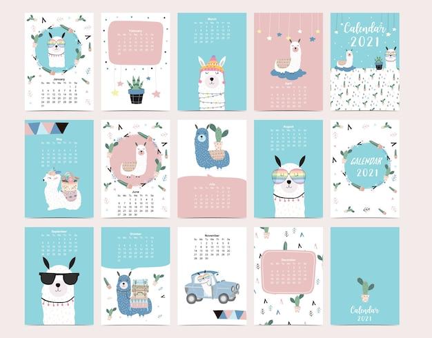 Cute animal calendar 2021 with llama, alpaca, cactus. Premium Vector