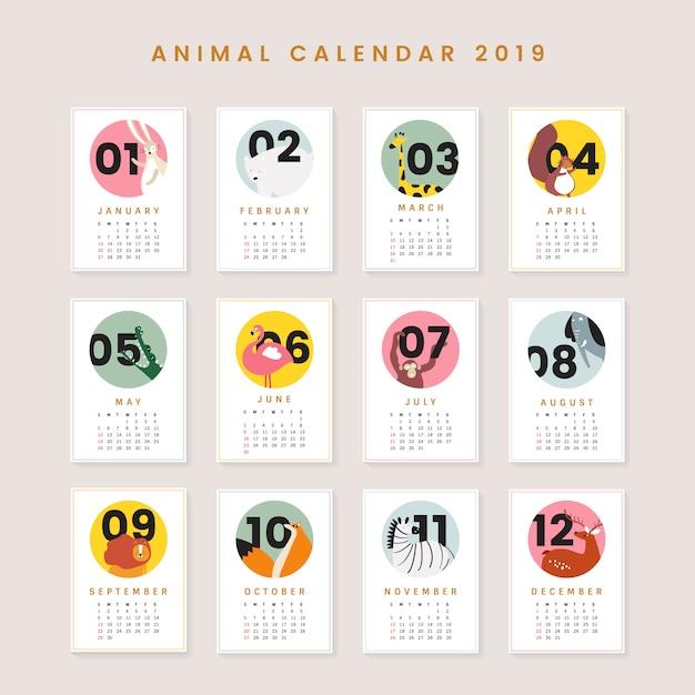 Cute animal calendar mockup Free Vector