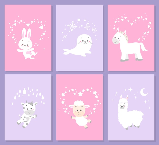 Cute animal card set Premium Vector