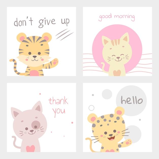 Cute animal card vector illustration isolated Premium Vector