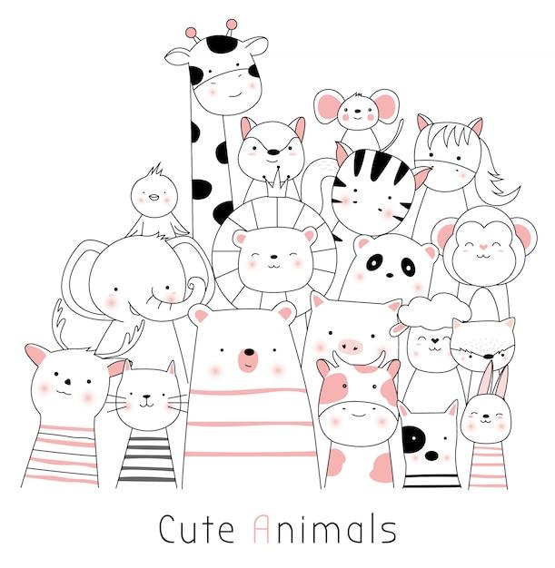 Cute animal cartoon hand drawn style Premium Vector