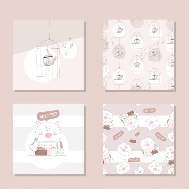 Cute animal cartoon set seamless pattern Premium Vector