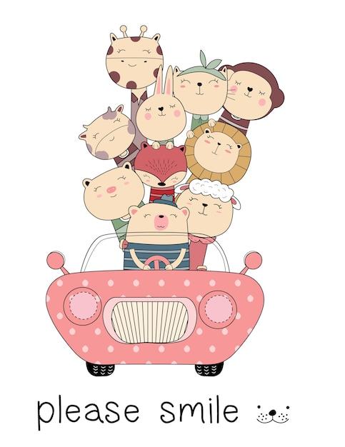 Cute animal cartoon with car hand drawn style Premium Vector