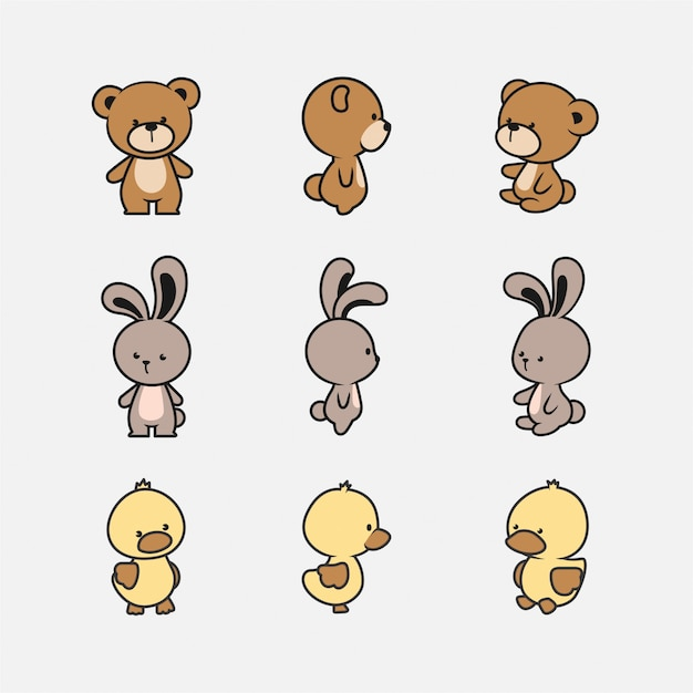 Cute animal character collection Premium Vector