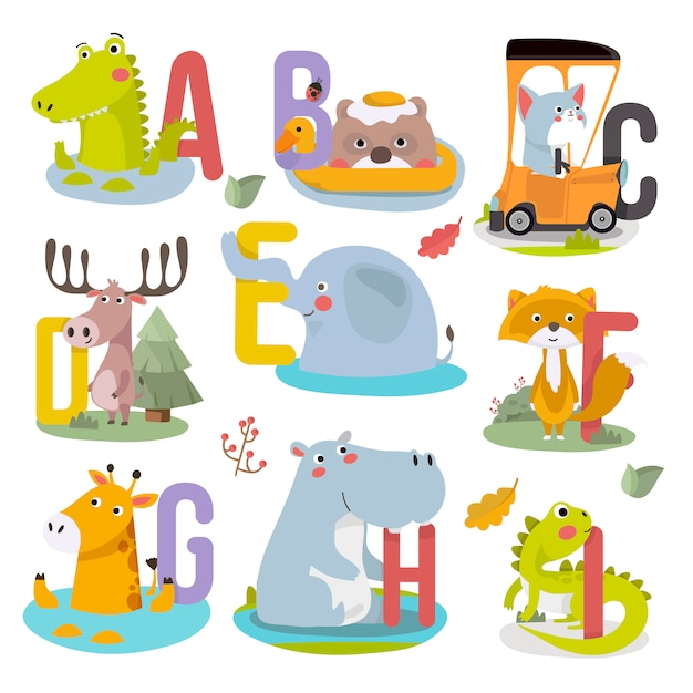 Cute animal childish alphabet vector illustration. Premium Vector