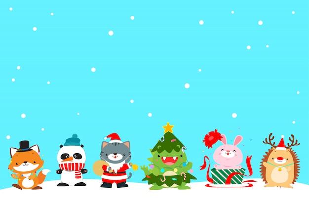 Cute animal christmas character background vector illustration. Premium Vector