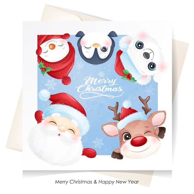 Cute  animal for christmas with watercolor card Premium Vector