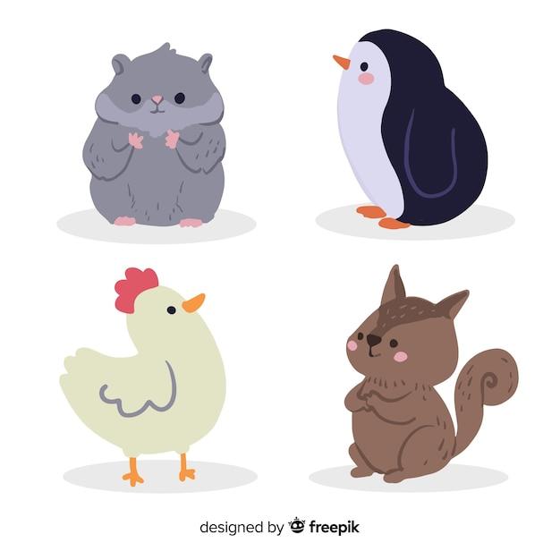 Симпатичные животные коллекции мультфильмов концепции Premium векторы