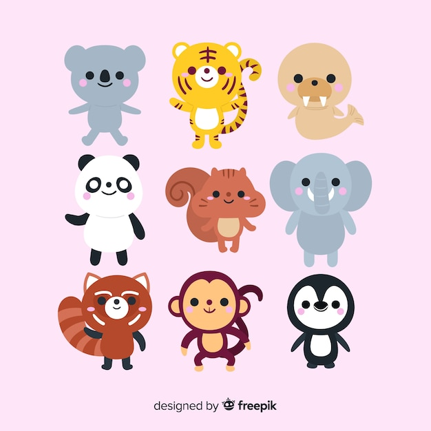 Cute animal collection design draw Free Vector